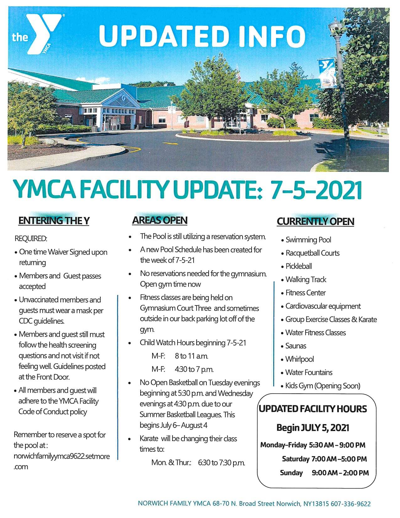 Facility Update: July 5, 2021